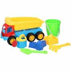 Zandbak speelgoed blauwe truck/kiepwagen enkele oplegger 35