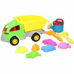 Zandbak speelgoed groene truck/kiepwagen 10 delig 33