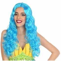 Zeemeermin verkleed pruik blauw dames