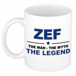 Zef the man, the myth the legend cadeau koffie mok / thee beker 300 ml