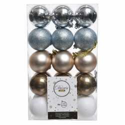 Zilver/bruin/witte kerstversiering kerstballenset kunststof 6