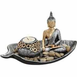 Zilver/goud boeddha beeldje waxine/theelicht houder 25