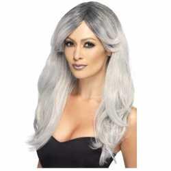 Zilver/grijze pruik dames