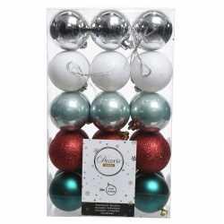 Zilver/groen/rode kerstversiering kerstballenset kunststof 6