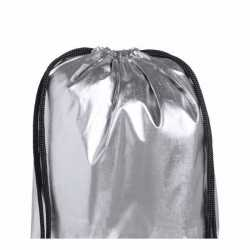 Zilver metallic gymtas rijgkoord