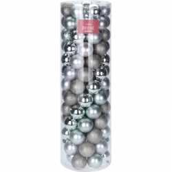 Zilver mintgroene kerstversiering kerstballenset kunststof 6
