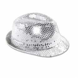Zilver pailletten hoedje LED licht