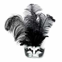 Zilver Venetiaans oogmasker zwarte veren