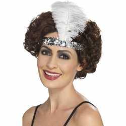 Zilveren charleston hoofdband veer