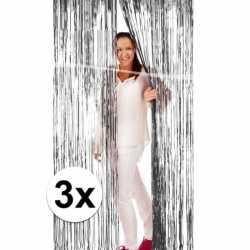 Zilveren deurgordijnen 200 3 stuks