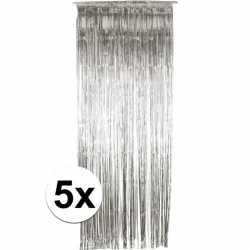 Zilveren deurgordijnen 244 5 stuks