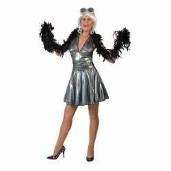 Zilveren disco seventies verkleed rok top dames
