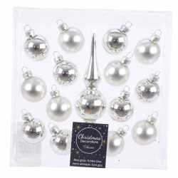 Zilveren glazen kerstballen piek mini kerstboom