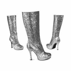 Zilveren glitter laarzen hak