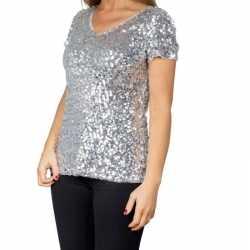 Zilveren glitter pailletten disco shirt dames