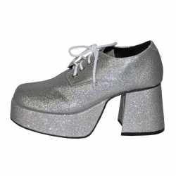 Zilveren glitter plateau schoenen