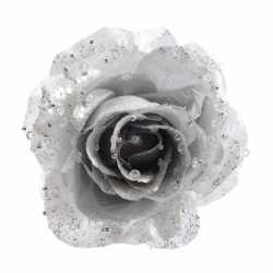 Zilveren glitter roos clip