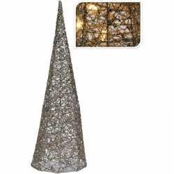 Zilveren kerstverlichting kegel piramide 40