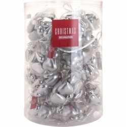 Zilveren kerstversiering hartjes kerstballen 10 stuks