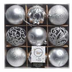 Zilveren kerstversiering kerstballen set van kunststof 9 stuks