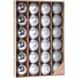 Zilveren kerstversiering kerstballenset 24 stuks kunststof 6