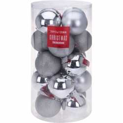 Zilveren kerstversiering kerstballenset kunststof 12