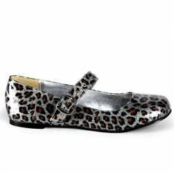 Zilveren luipaardprint ballerinas