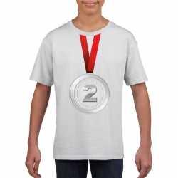 Zilveren medaille kampioen shirt wit jongens meisjes