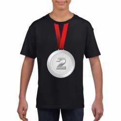 Zilveren medaille kampioen shirt zwart jongens meisjes