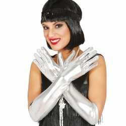 Zilveren metallic gala handschoenen volwassenen