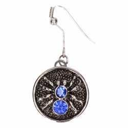 Zilveren oorbellen blauwe spin chunk