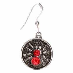 Zilveren oorbellen rode spin chunk