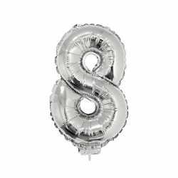 Zilveren opblaas cijfer 8 op stokje 41