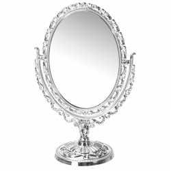 Zilveren ovale make up spiegel op voet