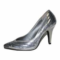 Zilveren pailletten dames pumps