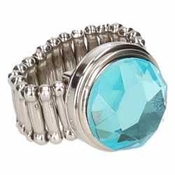 Zilveren ring blauwe diamant chunk