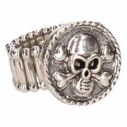 Zilveren ring doodshoofd chunk
