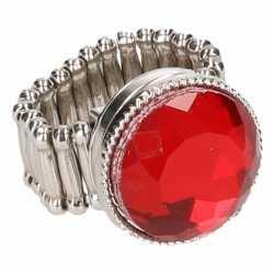Zilveren ring rode robijn chunk