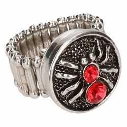 Zilveren ring rode spin chunk
