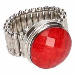 Zilveren ring rode steen chunk