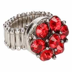 Zilveren ring rode steentjes chunk