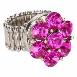 Zilveren ring roze steentjes chunk