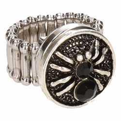Zilveren ring zwarte spin chunk