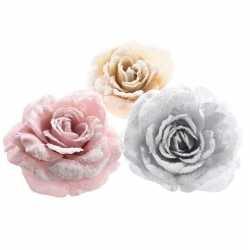 Zilveren roos kerstversiering clip decoratie 12