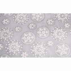 Zilveren tafelloper sneeuwvlok glitters 30 bij 270