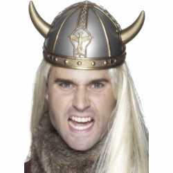 Zilveren Viking helm gouden hoorns