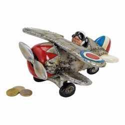 Zilveren vliegtuig spaarpot 22