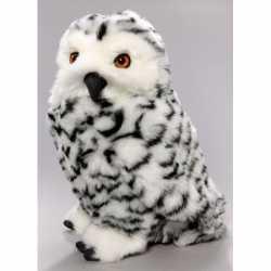 Zittende pluche knuffel sneeuwuil 30