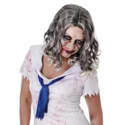 Zombie pruik krullend grijs haar