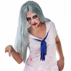 Zombie pruik lang grijs haar